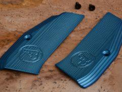 Blue aluminium grips